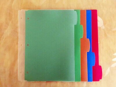 Big Tab Binder Thick Plastic Section Index Pocket Dividers 5 Assorted Colors New