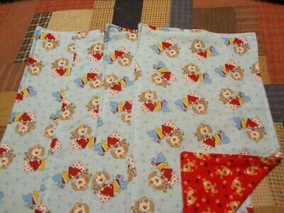Set of Four Blue/Red Puppy/Dog Theme Double-sided Flannel Burp Cloths