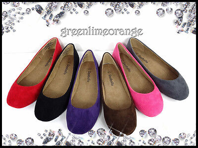 NEW WOMENS FAUX SUEDE BALLET FLAT ROUND TOE CASUAL SHOES ()