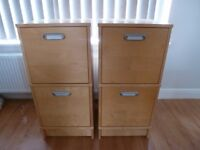 Two very good quality filing cabinets (beech veneer) in excellent condition