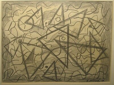 Abraham Walkowitz 1919 Abstract Graphite Drawing Important American Modernist