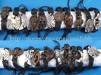 US Seller -25 pcs faux leather charm bracelet hippie punk jewelry wholesale bulk