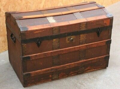 Vintage Metal And Wood  Bound Dome Top Trunk [5999]
