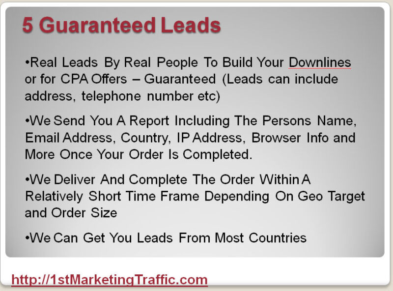 5+ International Real Leads To Build Your Downline or Business/CPA offer
