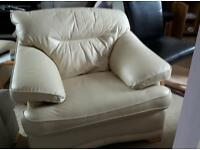 Leather 2 seater sofa and chair.