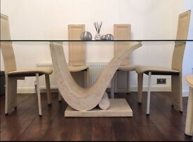 Cream Marble Dining Table in Good Condition