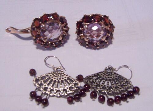 1.20ctw Garnet & Diamond Cut White Sapphire 14K Rose Gold 925 Silver Earrings