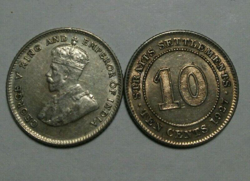 STRAITS SETTLEMENTS: 1927 SILVER 10 CENTS