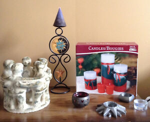 Great Assortment of candles and candle holders