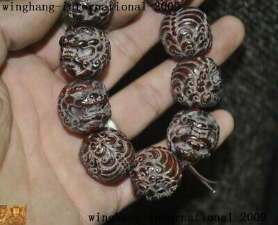 Rare Chinese Old Ox horn carved lion Foo dog Amulet hand chain bracelet statue