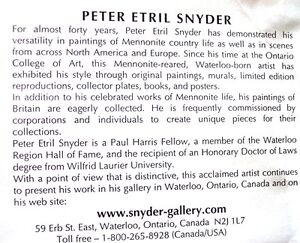 PETER ETRIL SNYDER - FRAMED SPIRITS OF CANADA SIGNED & #'d PRINT Kitchener / Waterloo Kitchener Area image 3