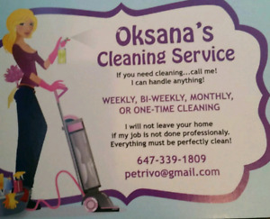 Cleaning lady available in Etobicoke and Mississauga