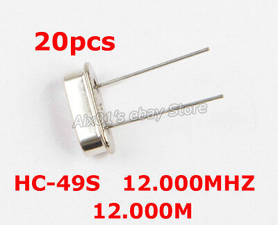 20pcs Hc-49s Frequenry 12.000mhz 12m Hz Dip Crystal Oscillator Resonators Kit