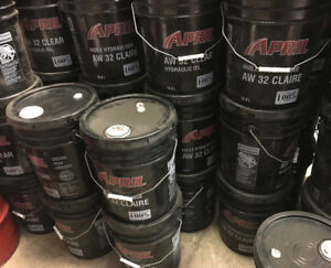 18.9 LT. PAILS of APRIL AW32 CLEAR HYDRAULIC OIL /FLUID