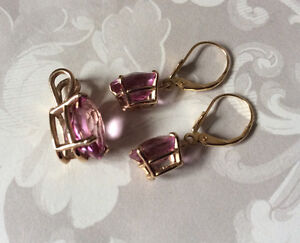 14K SOLID GOLD GENUINE PINK TOPAZ PENDANT AND EARRINGS *SET* West Island Greater Montréal image 5