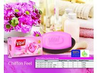 Vital Beauty Soap 100 % Vegetarian and free from all animal fats 72 pieces/carton assorted