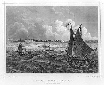Norderney, von der See aus, Original-Stahlstich von ca. 1860