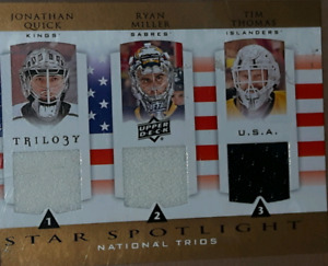 2013 2014 UPPER DECK TRILOGY TRIPLE GAME USED JERSEY SWATCH CARD
