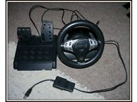 PS3 Compatible Rumble Steering Wheel- Very good condition!