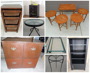 Nesting Tables, Glass End Table, Wooden Cabinets & Shelving