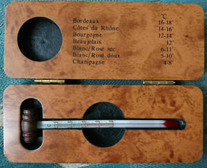 Vintage French Wine Thermometer with Wood Barrel Top