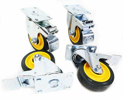 Heavy Duty Lot 4 4 Swivel Caster Wheels Base With Top Plate Bearing Yellow