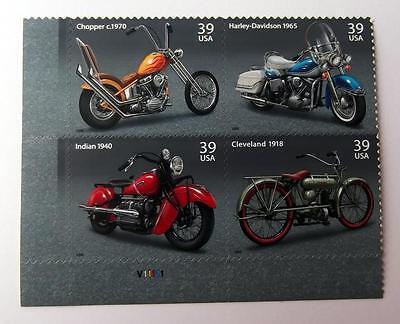 US POSTAGE STAMPS PL BK SCOTT  4085 - 88 MOTORCYCLES 39 CENT MNH