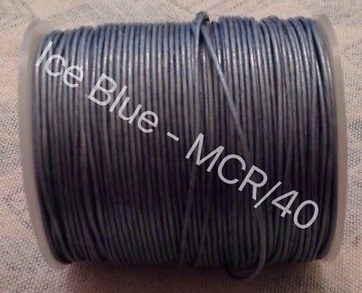 Real Leather Cord Round - 1mm - 100M - Ice Blue
