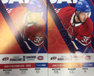 Billets Canadiens de Montréal vs Hurricanes - Section 115 R CC