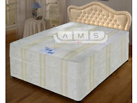 Brand New Double/Small Double Divan Bed Base with 12inch Hand-tufted Super Orthopaedic Mattresses
