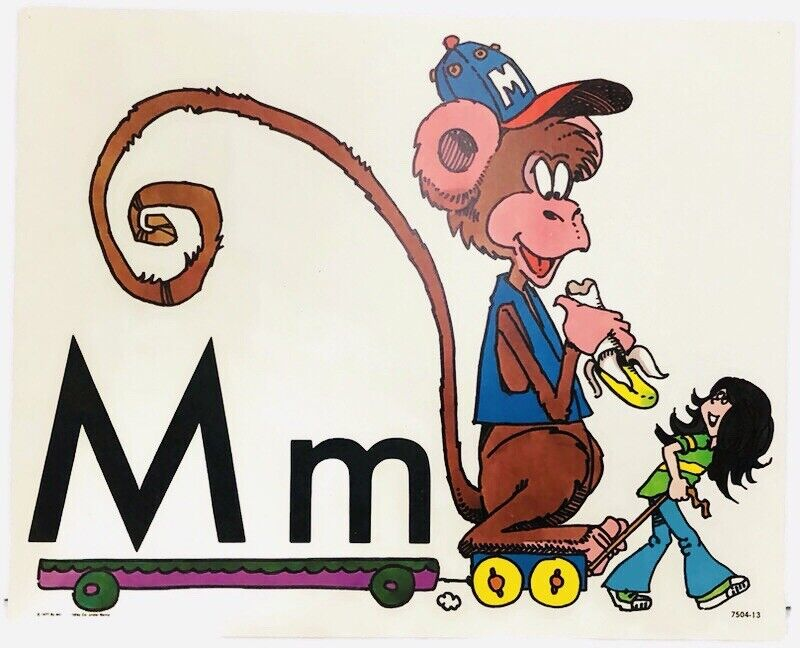 Vintage Alphabet Poster Card Electric Company Letter M 1977 MB Monkey