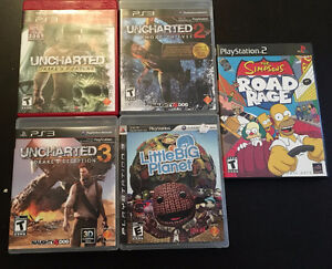 Uncharted 1-3, Little Big Planet,TheSimpsons Road Rage For Sale