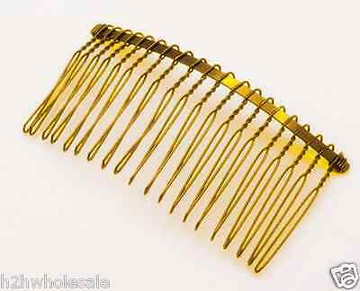 10 x 77mm x 38mm 20 Teeth Gold Metal Hair Combs Bridal Crafts ~ UK Wholesale