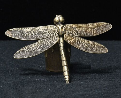 Brass Dragonfly Statue Insect Animal Figurine Zen Table Decor