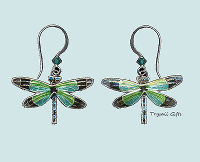 Bamboo Jewelry Radiant DRAGONFLY Cloisonne EARRINGS STERLING Silver Dangle + Box