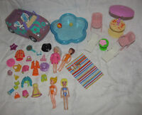 Polly Pocket Doll Set - Purple Car, Pool, Chairs, Clothes, etc.