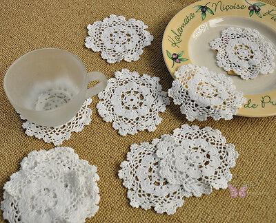 "1 Dozen/12pcs Pure White Round Hand Crochet Cotton Doily cupmat 4"" Snowflakes"