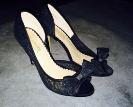 Ladies Black Stiletto Heeled Peep Toe Shoes Size 6 / 39. Madore @ Dune