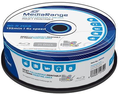 25 Mediarange Rohlinge Blu-ray BD-R full printable 25GB 4x Spindel