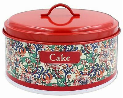 VINTAGE STYLE WILLIAM MORRIS GOLDEN LILY METAL ROUND CAKE STORAGE TIN CONTAINER