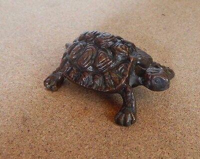Vintage Miniature solid  Bronze Tortoise Figure 8cm Long .