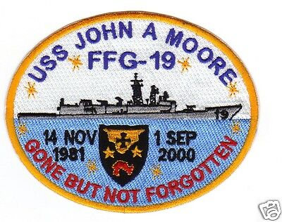 US NAVY SHIP PATCH, USS JOHN A. MOORE, FFG-19, GONE BUT NOT FORGOTTEN   Y