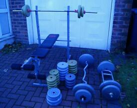 Over 120kg weight, incline/decline bench, ez, triceps/hammer and barbell