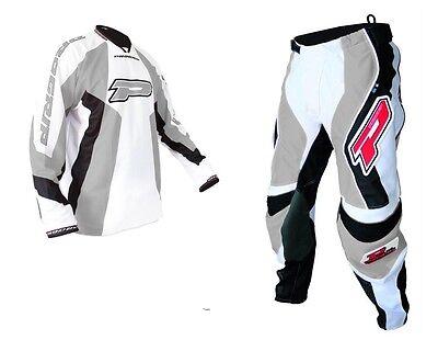 "Progrip MX- Motocross-Enduro Jeans & Shirt Grey-White 28"" Waist-Small Top"