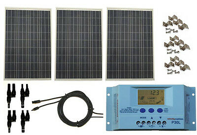 300 Watt 300W Solar Panel Kit with LCD Solar Controller 12V RV Ship Off Grid