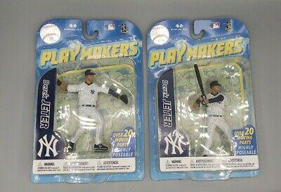 2- MLB New York Yankees Playmakers Series 2 Derek Jeter Action Figure throw/bat