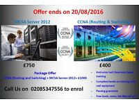 Instructor Led CCNA and MCSA Server 2012 Training in just £1000