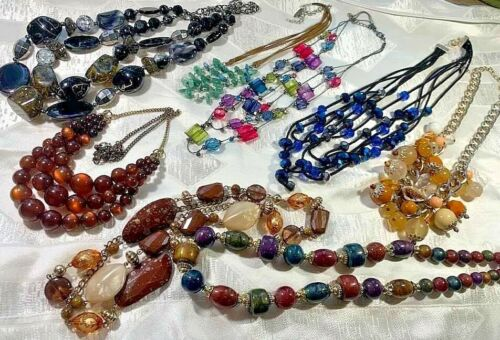 Vintage Jewelry Chokers Cut Crystal Beads Colored Glass Seed Beads Leather Retro