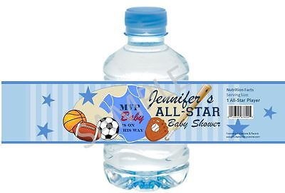 Sports Baby Shower Water Bottle Wrappers - 1st Birthday/Baby Shower Favors](Sports Baby Shower)