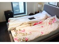 Double Bed in Rooms in a Stylish 2 Bedroom 1 Bathroom Apartment with Balcony near Canary Wharf